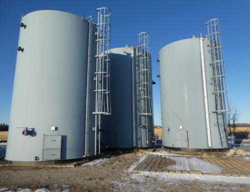 750 BBL Internally Coated Storage Tanks c/w Base Skids